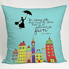 DSL&HXY NicholasCGShopOnline C9403F Cotton Linen comfortable pillowcase Mary Poppins Every Job That Must Be Done 18 x 18