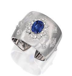 18 Karat White Gold, Sapphire and Diamond Cuff Bracelet, Buccellati
