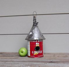 Vintage Coffee Can Birdhouse, Funnel Roof, Whimsical Birdhouse, Red Repurposed Can, Recycled, Reclaimed, Tin Can Birdhouse, Spoon. $44.00, via Etsy.