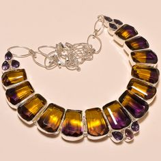 BEAUTIFUL AMETRINE & FACETED AMETHYST AMAZING .925 SILVER NECKLACE #Handmade #Choker