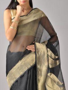 Black-Gold Kora Silk Saree