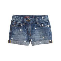 Her favorite jeans, just shorter. We gave it a faded wash that looks and feels like it's been worn for years (so it's comfy and cool) and covered it with mini hearts. Love. <ul><li>Cotton.</li><li>Sizes 2-12 have internal adjustable elastic waistband.</li><li>Belt loops.</li><li>Zip fly.</li><li>Sizes 2-7 have snap closure; sizes 8-16 have button closure.</li><li>Traditional 5-pocket styling.</li><li>Machine wash.</li><li>Import.</li></ul>