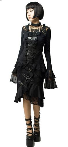 Criss Cross Lace Top - Gothic clothing - womens tops and shirts.