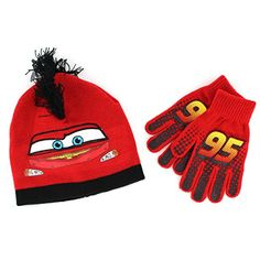 fe1a214a36a Amazon.com  Disney Cars Boys Knit Hat with Gloves Set (Red Turquoise)   Clothing