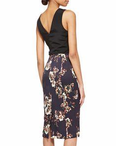 Jason Wu Sleeveless Floral Crepe Sheath Dress