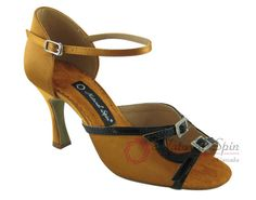 Natural Spin Latin Shoes(Open Toe, Adjustable):  M1146-07a_GoldCS