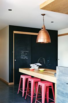 Pink, copper and chalk board.