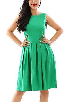 Green Boat Neck Green 60s Vintage Party Dresses Sleeveless Size L * For more information, visit image link.