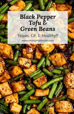 A better than takeout Vegan Black Pepper Tofu w/ green beans, shallots, & the easiest 4 ingredient black pepper sauce. A simple Black Pepper Tofu stir fry recipe w/ crispy tofu makes a tasty & healthy vegan Chinese stir fry. This easy spicy vegetable stir Tofu Green Beans Recipe, Green Bean Recipes, Vegan Black Bean Recipes, Rice Tofu Recipe, Thai Green Beans, Vegan Dinner Recipes, Vegan Dinners, Veggie Recipes, Vegetarian Recipes Tofu