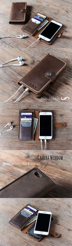 Our handmade leather iPhone 6 wallet case with the added bonus of personalizing it with your choice of initials or a name or a logo. Just let us know, what you want us to create and we'll make you awesome, handmade leather iPhone case. #JooJoobs #Awesome #wallets