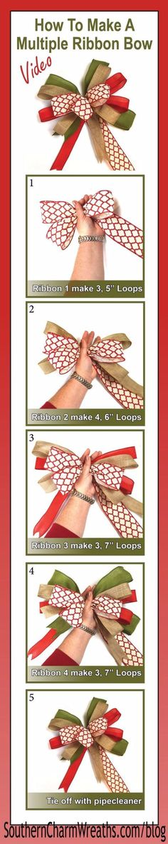 Creative Bows For Packages - Make a Bow with Multiple Ribbons - Make DIY Bows for Christmas Presents and Holiday Gifts - Cute and Easy Ideas for Making Your Own Bows and Ribbons - Step by Step Tutorials and Instructions for Tying A Bow - Cheap and Crafty Gift Wrapping Ideas on A Budget http://diyjoy.com/diy-bows-gifts-packages