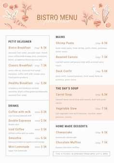 One Page Menu Template Restaurant Menu Design, Drink Menu Design, Cafe Menu Design, Hotel Menu, Menu Card Design, Bakery Menu, Stationary Design, Carrots And Potatoes, Roasted Carrots