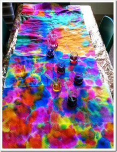 Abstract Art Effect Created by Pipettes via Casa Maria's Creative Learning Zone...maybe do this on muslin or gauze to repurpose later into something else?  What about doing this with the...