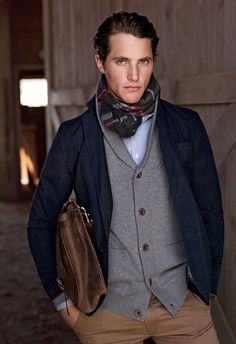 Tartan scarf, shawl collar cardigan, blazer, collared dress shirt, khaki pants leather bag. Perfect.