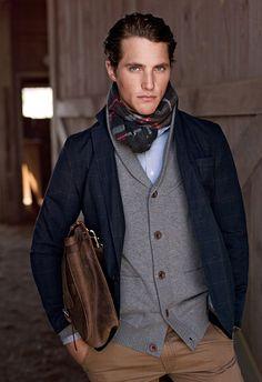 Tartan scarf, shawl collar cardigan, blazer, collared dress shirt, khaki pants leather bag. Perfect.
