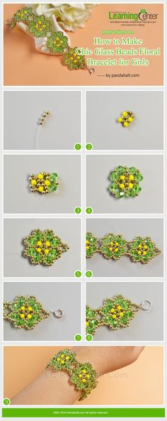 Instructions on How to Make Chic Glass Beads Floral Bracelet for Girls from LC.Pandahall.com