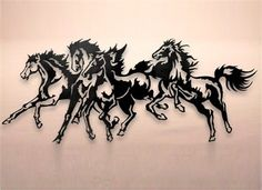 Horse Stampede Metal Wall Art Black Cat Artworks