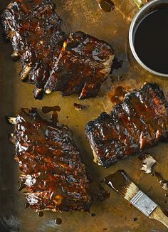Fall-apart bourbon ribs: Few things are more satisfying to eat than tender sticky ribs. This recipe adds a bourbon kick to the sweet glaze providing a real depth of flavour. It will be a family favourite. by Read Sticky Ribs Recipe, Ribs Recipe Oven, Rib Recipes, Cooking Recipes, Smoker Recipes, Best Food Recipes, Cooking Tips, Cooking Lamb, Barbecue