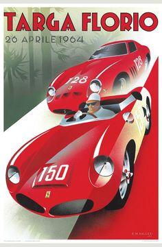 Targa Florio' by Emilio Saluzzi - Vintage car posters - Art Deco - Pullman Editions - Ferrari Art Deco Posters, Car Posters, Vintage Racing, Vintage Cars, Sport Cars, Race Cars, Motor Sport, Ferrari Daytona, Vintage Italian Posters