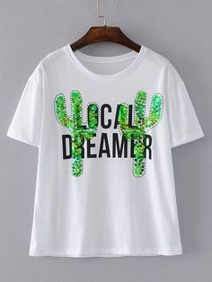 Shop Cactus Sequins Embroidery Tee online. SheIn offers Cactus Sequins Embroidery Tee & more to fit your fashionable needs.