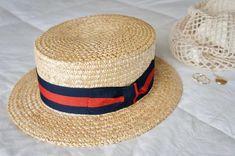 Italian Boater Hat - Barbershop Quartet Hat - Italian Straw Skimmer Hat - Vintage Boater Hat - Classic Italian Boater Hat - Size 58 Mens Hat American Wizarding School, Barber Shop Quartet, Boater Hat, Classic Italian, Fashion Hats, Vintage Hats, Canes, Barbershop, Hat Sizes
