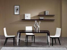 neutral-wall-painting-of-modern-small-dining-room-with-floating-bookshelf-and-rectangle-dark-brown-mahogany-wood-dining-table-using-polished-chrome-square-tapered-steel-legs-as-well-as-three-white-din-1120x839.jpg (1120×839)