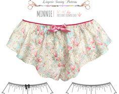 DIGITAL pdf de patrón de costura lencería - Minnie quemado toque pantalón - instantánea descargar E2011 de EVIE la LUVE