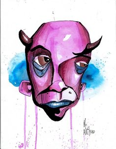 devil anthead 8.5X11 90# paper outsider lowbrow graffiti art folk urban pop ink #OutsiderArt