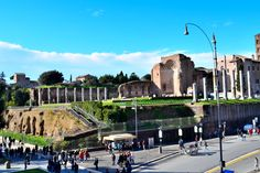 Remains of Temple of Venus and Roma, 121-135, Rome.  The semi-dome at the left far-end is one of the cella's nich. Temple of Venus and Roma was designed by Hadrian and built between 121 and 135. Venus has been the favorite goddess of Hardian. The temple was burned down in 3rd century AD and then renovated by the emperor Maxentius in 307 AD. Roman Architecture, Ancient Romans, Roman Empire, Emperor, Venus, Travel Photos, Mount Rushmore, Rome, New York Skyline