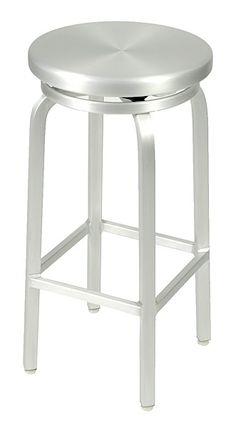 The Misha Swivel Bar Stool has a classic design and is all aluminum for indoor/outdoor use. It has a welded frame, seat swivels, and adjustable feet. Available in counter height.