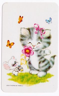 vintage SWAP CARDs 1970s blank back CUTE CATS KITTENs & mouse butterflies too