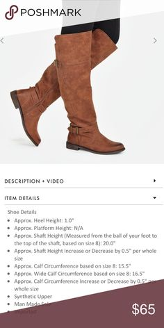 BNIB JustFab Vani Over The Knee Boots Brand new, never worn. Only one shoe has even been opened to try on. Color is cognac and a really pretty brown. Size 8. Please see picture for additional details. Brand is JustFab. Steve Madden Shoes Over the Knee Boots