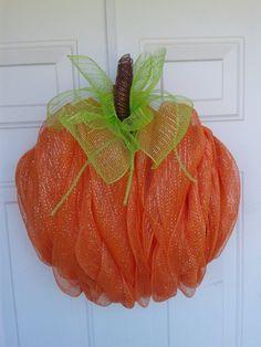 Decomesh Pumpkin Wreath Halloween Wreath Pumpkin by DitzyDesign