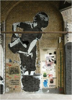 Bansky street art- in My imaginary museum, I have a wall exactly like this, where Banksy himself  would come to visit and paint for me ☺️