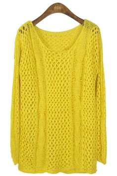 Yellow Long Sleeve Hollow Loose Pullovers Sweater