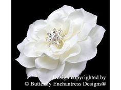 White Hair Flower, Bridal Hair Accessory, Wedding Flower Clip - White Tahitian Gardenia Flower Hair Clip - Starfire Rhinestone