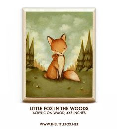Original Painting, Acrylic Painting, Children's Art, Nursery Art, Fox, Forest, Baby, Animal, Cute, Autumn, Kids - Little Fox In The Woods