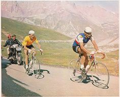 Raymond Poulidor leading Roger Pingeon, the eventual winner, in the Galibier stage, Tour de France, 1967.