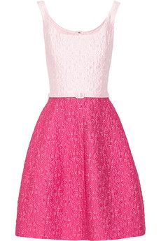 Oscar de la Renta Two-tone cotton-blend brocade dress | NET-A-PORTER