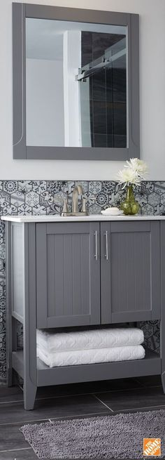 This vanity set combines strong, contemporary construction with a high-end painted grey finish. Like tiling behind also. Bathroom Renos, Laundry In Bathroom, Bathroom Ideas, Washroom, Grey Floor Tiles, Living Room Paint, Living Rooms, Contemporary Bedroom, Interior Design Living Room