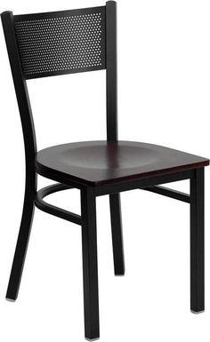 HERCULES Series Black Grid Back Metal Restaurant Chair with Mahogany Wood Seat XU-DG-60115-GRD-MAHW-GG by Flash Furniture