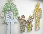 Where We're From - Love Vintage Map Figures. put in frames