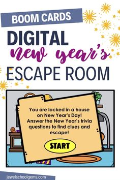 Looking for fun new year-themed activities for your students? Try this exciting digital new year's escape room for kids on Boom Learning. Your students will find themselves locked in a house on New Year's Day. They must go through four different rooms in the house and click on objects in each room to find clues. They must answer multiple-choice New Year's trivia questions correctly in order to see if the object has a letter for the special word. Your students will surely enjoy!