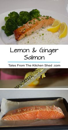 Lemon & Ginger Salmon makes a healthy midweek meal. It's so easy - marinate in lemon, ginger, garlic, honey & soy for just 15 minutes while your oven preheats & then bake for 15 minutes!