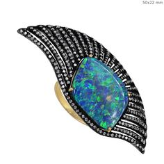 14K Gold Opal Pave Diamond Ring Collection Jewelry By Gemco International.