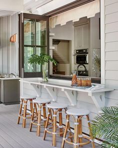 Outdoor Kitchen Bars, Outdoor Kitchen Design, Outdoor Kitchens, Patio Design, Pass Through Window, Dream Beach Houses, Small Beach Houses, Southern Living Homes, Beach House Decor
