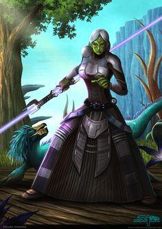 Delara Seranne Sith Mirialan and her varactyl pet by Aliens-of-Star-Wars.deviantart.com on @deviantART