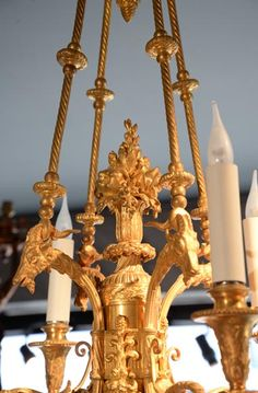 BARBEDIENNE Ferdinand - Very beautiful Louis XVI style chandelier in gilt bronze with heads of goats (Reference - Available at Galerie Marc Maison Antique Chandelier, Chandeliers, Ceiling Lamps, Architectural Antiques, Ferdinand, Louis Xvi, French Antiques, Goats, Sculptures