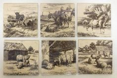 Sale D030915 Lot 71  A set of six Minton tiles decorated with cattle, sheep and a donkey  - Cheffins