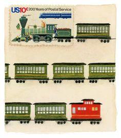 Original Framed Art: Passenger Train, USA Postage Stamp Painting
